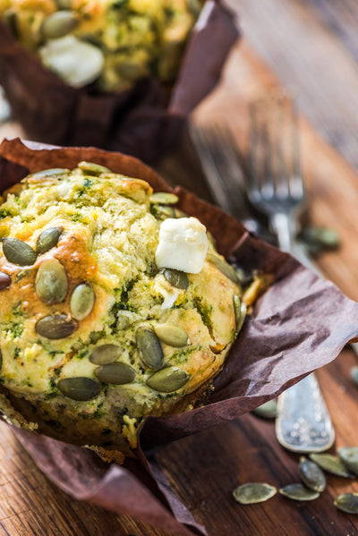 Roast Pumpkin, Spinach and Feta Muffins