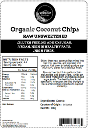 Organic Raw Coconut Chips - Unsweetened (200g)