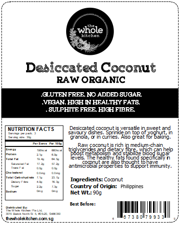 Organic Raw Desiccated Coconut - Unsweetened (90g)