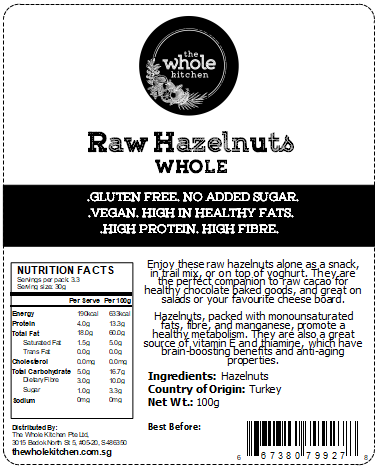 Raw Hazelnuts - Whole (100g)