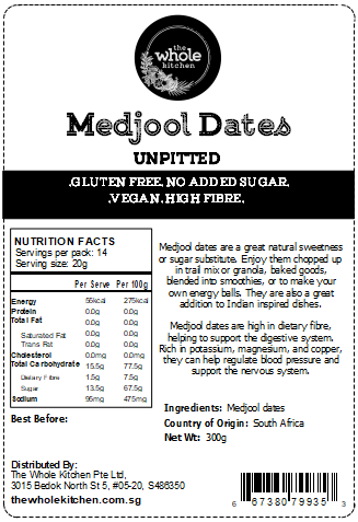 Medjool Dates - Unpitted (300g)