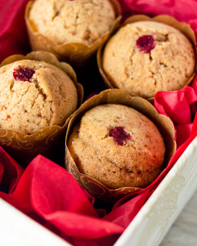 GF Guest Chef Series July - Raspberry Stresuel Muffins with Batak Berries
