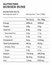 GF Burger Buns 4 Pack