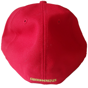 Crooks and Castles - Red Greco Fitted Cap - The Hidden Base