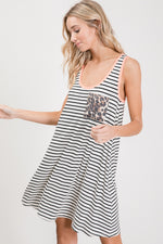 Leopard pocket Striped Dress