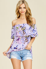 The Maddie Off the Shoulder Lavender Top