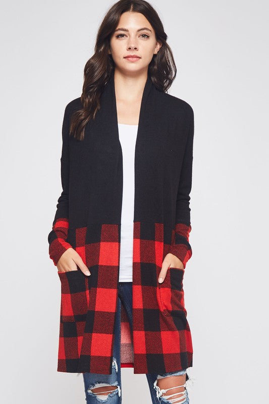 Buffalo Plaid Black Cardigan