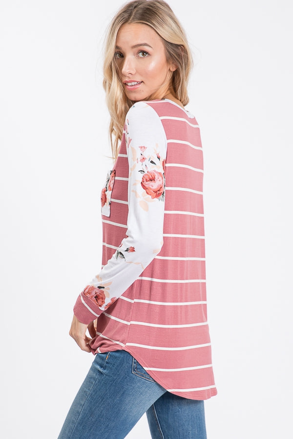 Marsala Striped Floral Long Sleeve Tee