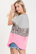 Leopard Color Block Tee