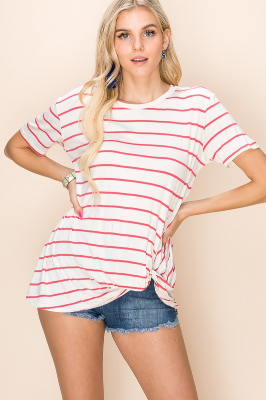Basic Everyday Round Top - Ivory/Coral