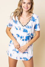 Basic Tie-Dye Print V neck Top