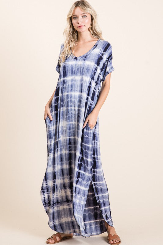 Tie dye V neck maxi dress