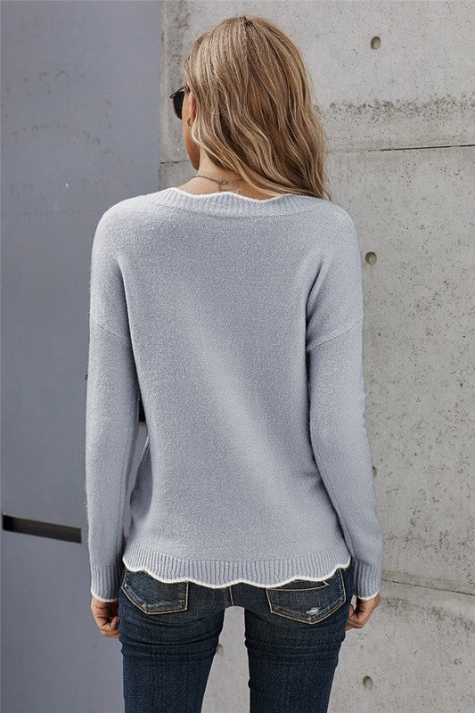 Scalloped Edge Sweater