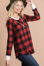 Raglan Buffalo Plaid Top