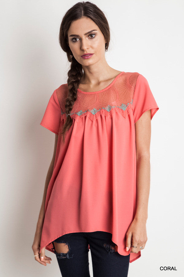 Coral Baby Doll Blouse