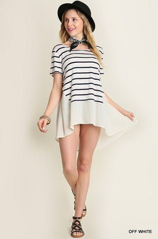 Striped Blouse with Sheer Underlay