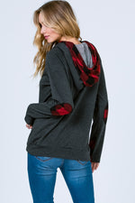Side Zip Hoodie with Plaid Contrast