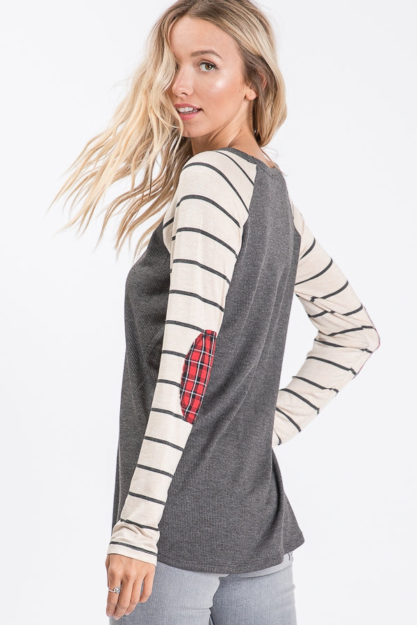 Striped Raglan with Plaid Elbow Patches