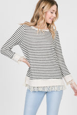 Lace & Striped Sweater