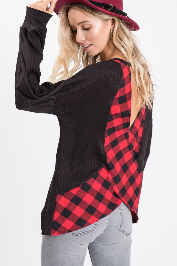 Plaid Open Back Top