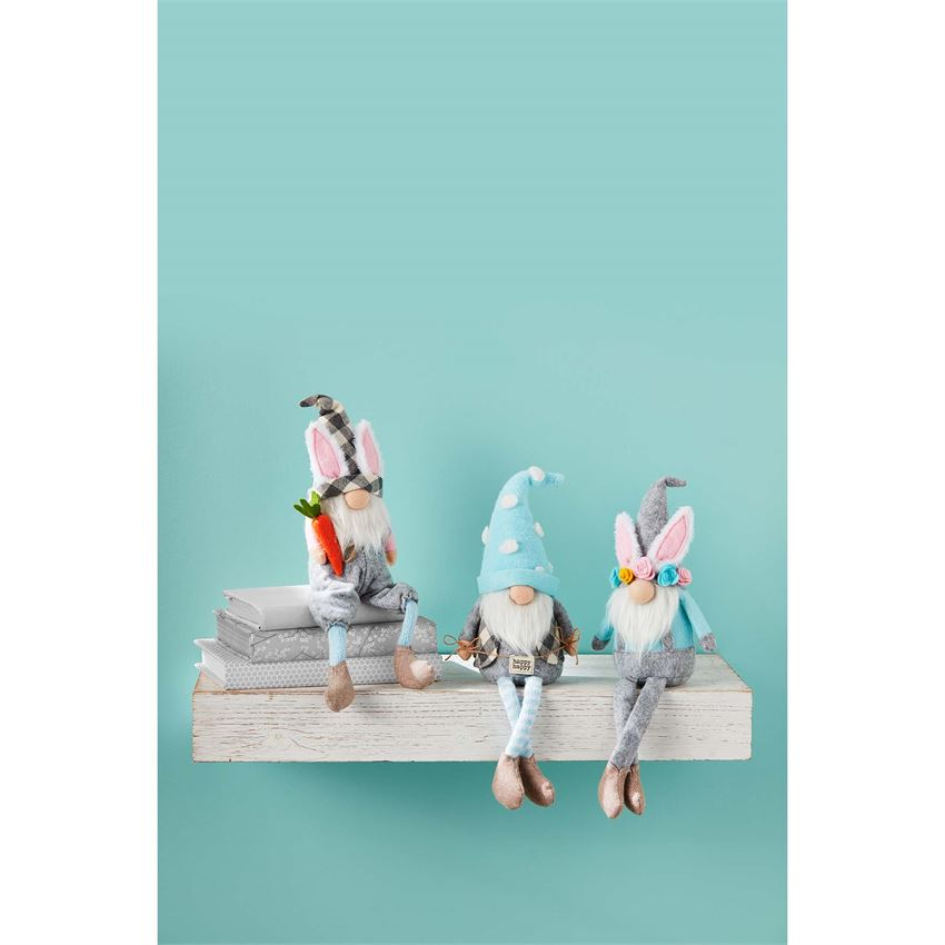 Easter Dangle Leg Gnome Blue Polka Dot