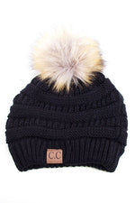 Beanie with Pom Pom - Black