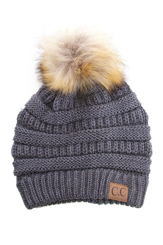 Dark gray Beanie with POm POm