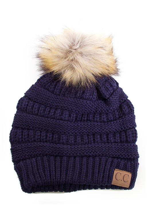 navy Beanie with POm POm