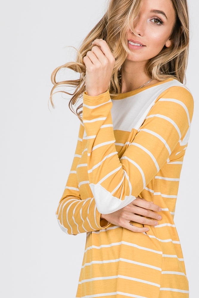 Mustard Striped Top with Elbow Patches