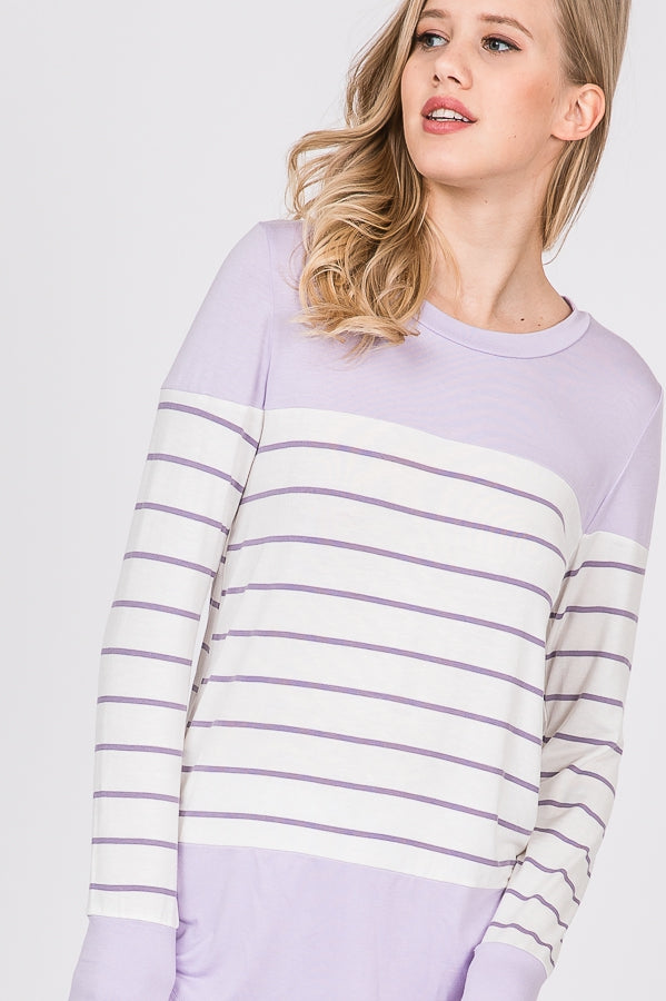 Lilac Striped Top
