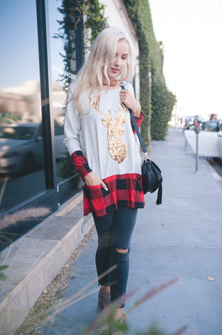 Reindeer Buffalo Plaid Top