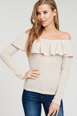 Off the Shoulder Waffle Top