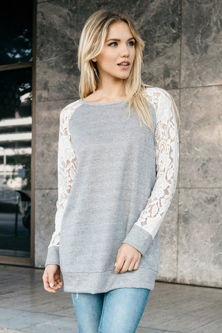 Heather Grey Floral Sweatshirt