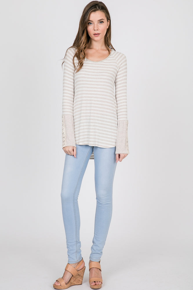 Sarah Oatmeal Striped Top