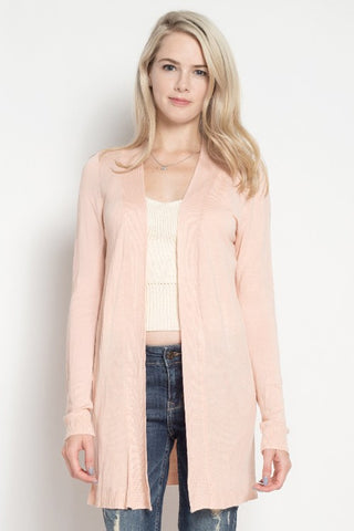 The Heidi Long Line Cardigan - Blush