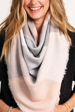 Oversized Blanket Scarf - Blush/Grey