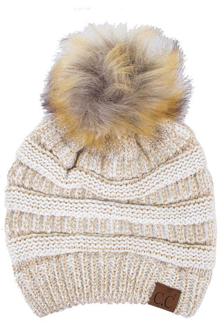 Gold Metallic Beanie with Pom Pom