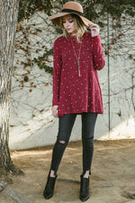 Polka Dot Top With Elbow Patches - Red