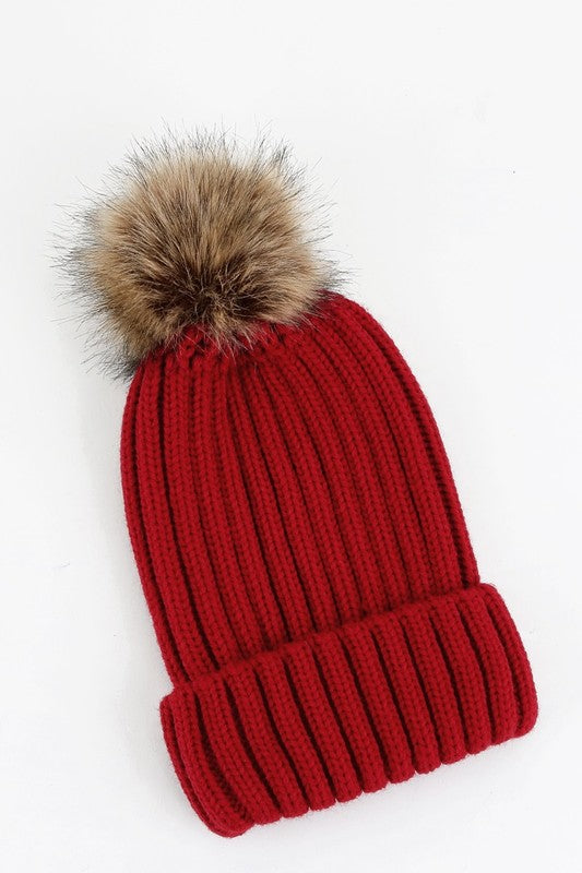 Red Beanie with pompom