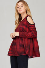 Plaid Cold Shoulder