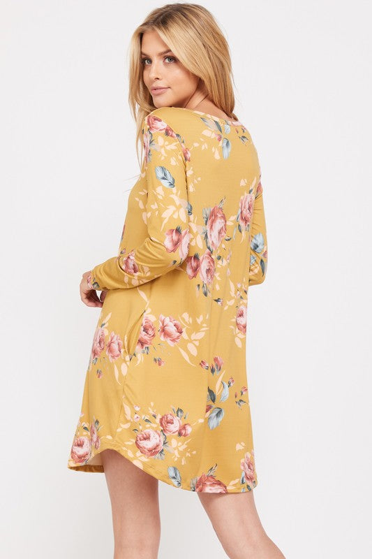 The Emma Floral Print Dress - Mustard