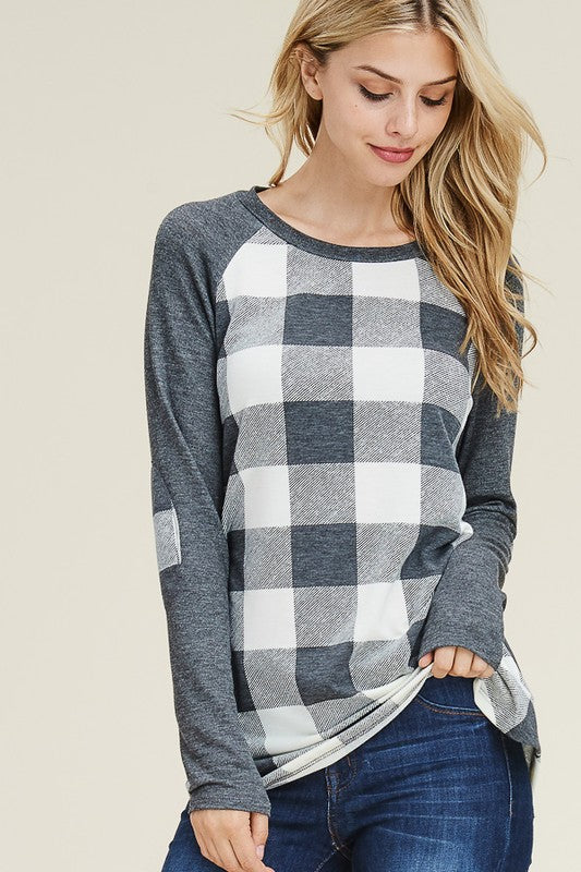 The Mandy Plaid Raglan - White/Charcoal