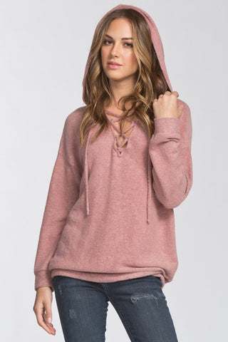 The Sarah Lace Up Hoodie - Mauve