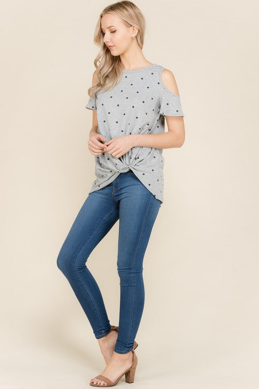 POlka Dot Cold Shoulder Top