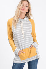 Mustard and Striped Cowl Neck Top