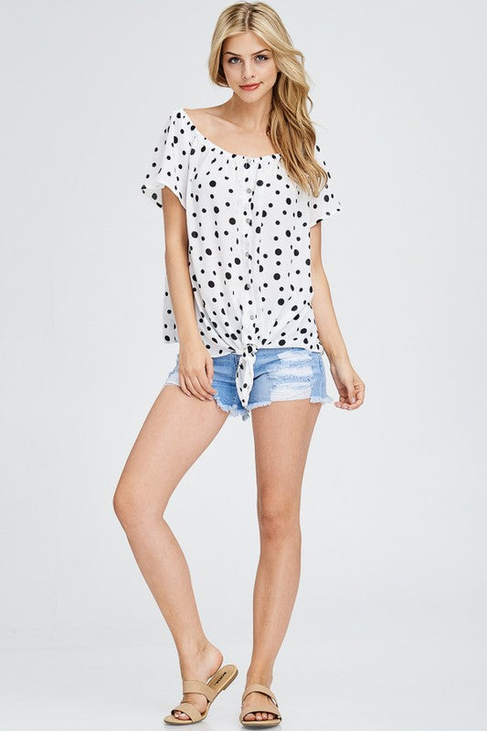 The Lucy Off the Shoulder Polka Dot Top