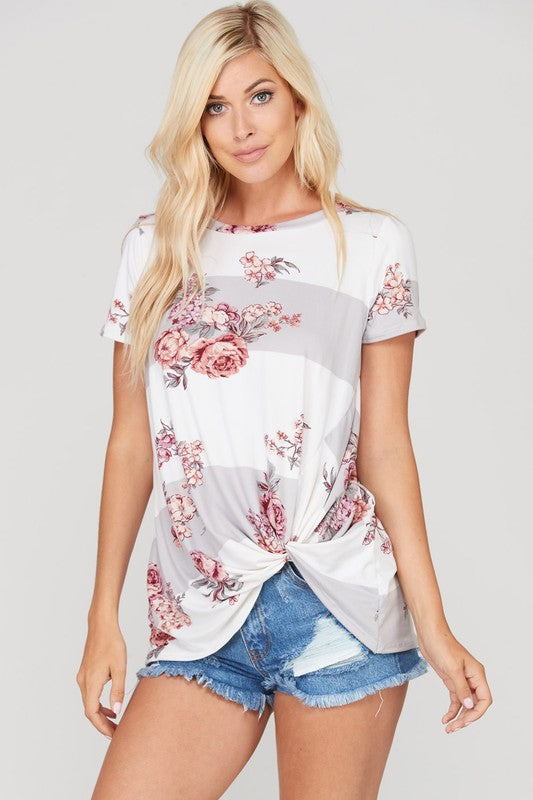 The Floral and Stripe Top - Grey
