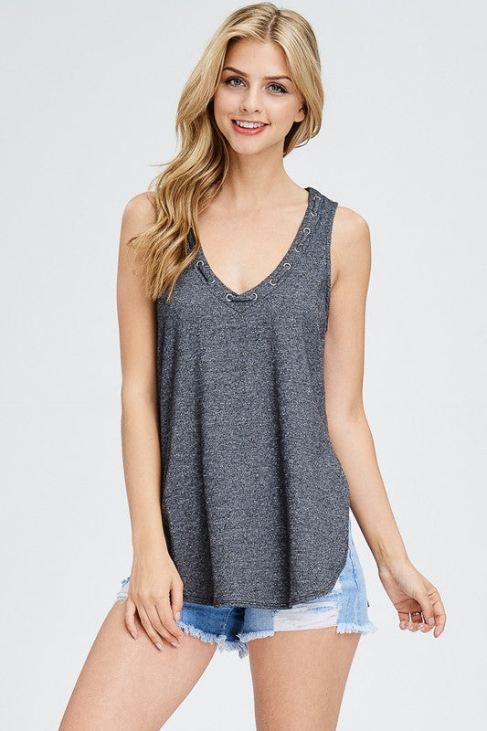 The Lucy Vneck Tank - Black