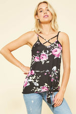 The Megan Floral Pink Black Tank