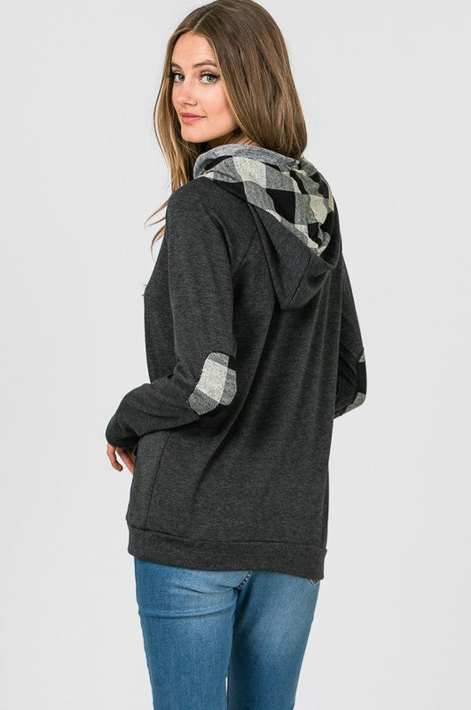 Side Zip Hoodie with Plaid Contrast - Black & White